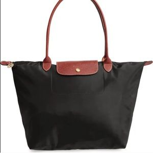 Longchamp Le Pilage black tote bag